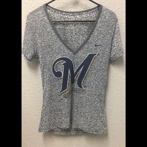 Nike, Milwaukee Brewers, v neck T, size medium